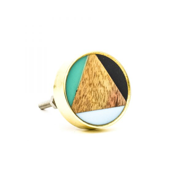 DSC 0358 Large round brass resin trio and wood knob 600x600 - Large Bermuda Triangle Knob