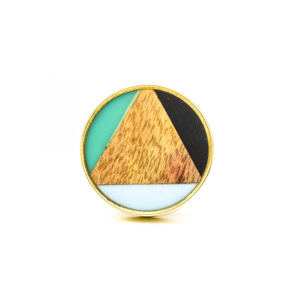 DSC 0359 Large round brass resin trio and wood knob 600x600 - Large Bermuda Triangle Knob