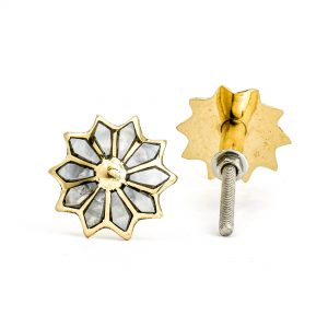 DSC 0947 Round bone  1 300x300 - Brass and Shell Flower Knob