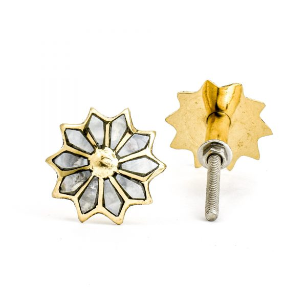 Brass and Shell Flower Knob