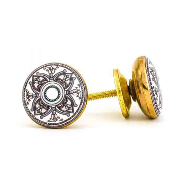 DSC 1005 Gold brass  600x600 - Pastel Floral Mandala Knob