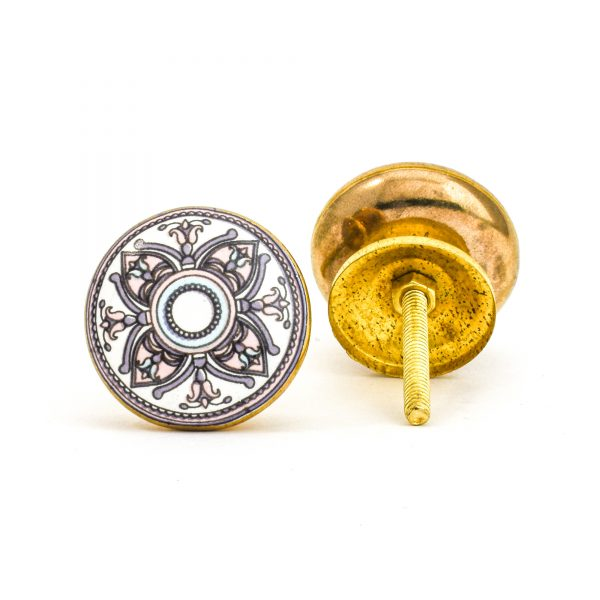 DSC 1006 Gold brass  600x600 - Pastel Floral Mandala Knob