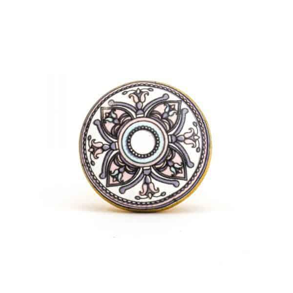 DSC 1007 Gold brass  600x600 - Pastel Floral Mandala Knob