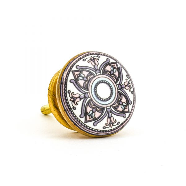 DSC 1008 Gold brass  600x600 - Pastel Floral Mandala Knob