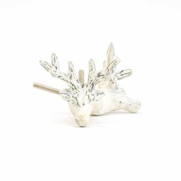 DSC 1051 White deer  600x600 - Rustic White Deer Knob