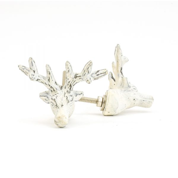 DSC 1052 White deer  600x600 - Rustic White Deer Knob