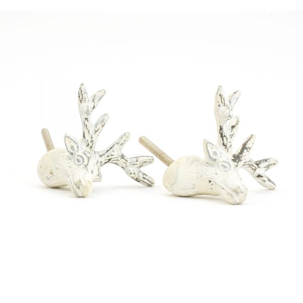 DSC 1053 White deer  600x600 - Rustic White Deer Knob