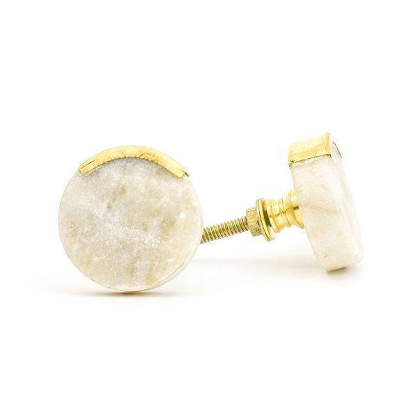 DSC 1061 Round white 600x600 - Sandstone Circle Knob with Brass Trim