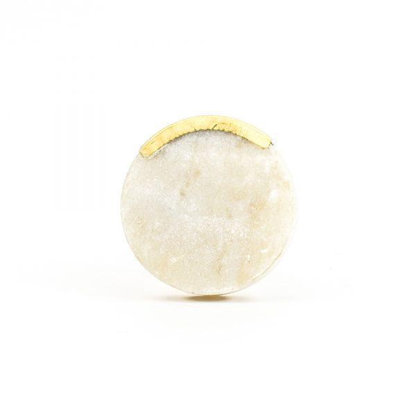 DSC 1063 Round white 600x600 - Sandstone Circle Knob with Brass Trim