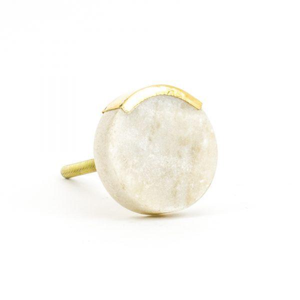 DSC 1064 Round white 600x600 - Sandstone Circle Knob with Brass Trim