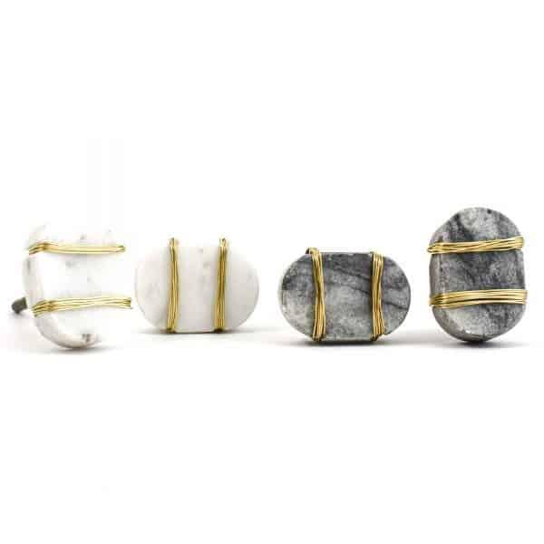 DSC 1088 Oval white  1 600x600 - Metal Wrapped White Marble Knob
