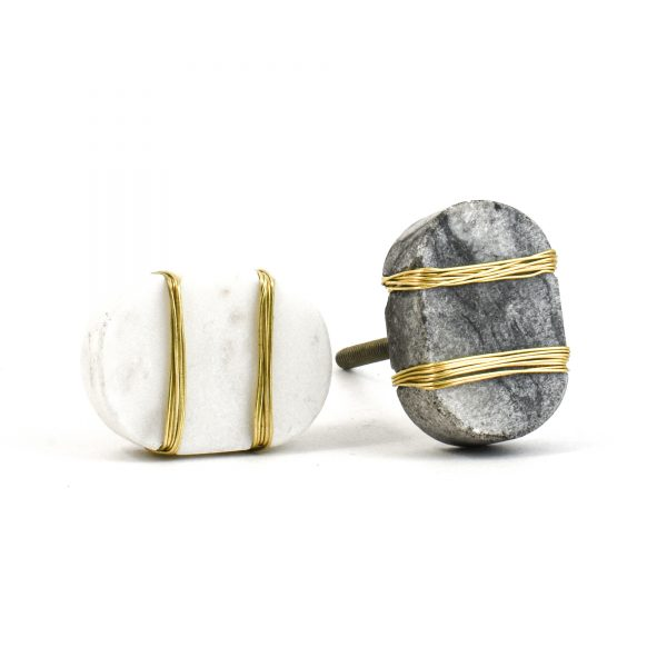DSC 1089 Oval white  1 600x600 - Metal Wrapped White Marble Knob