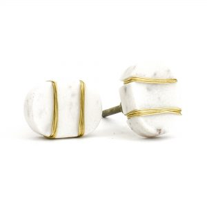 DSC 1090 Oval white  1 300x300 - Metal Wrapped White Marble Knob