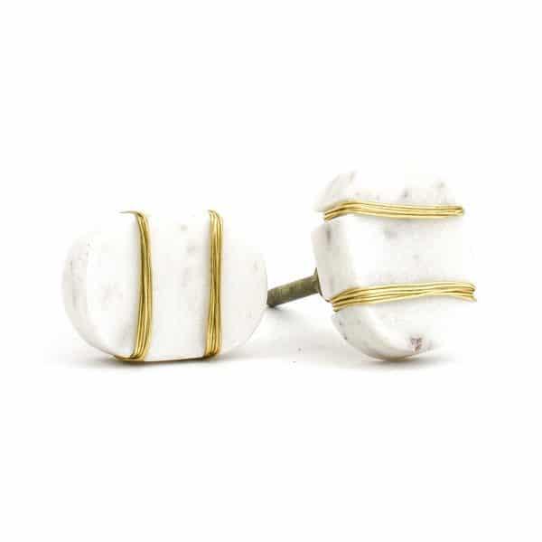 DSC 1090 Oval white  1 600x600 - Metal Wrapped White Marble Knob
