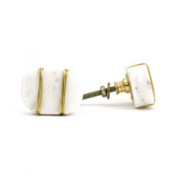 DSC 1091 Oval white  1 600x600 - Metal Wrapped White Marble Knob