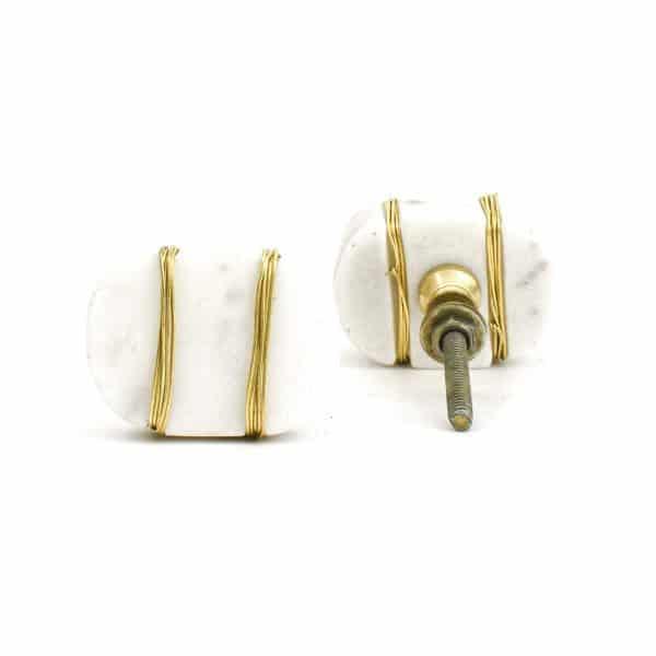 DSC 1092 Oval white  1 600x600 - Metal Wrapped White Marble Knob
