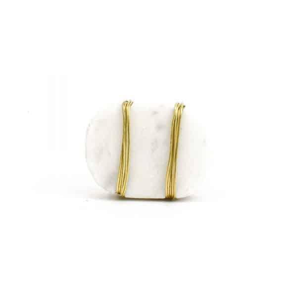DSC 1093 Oval white  2 600x600 - Metal Wrapped White Marble Knob