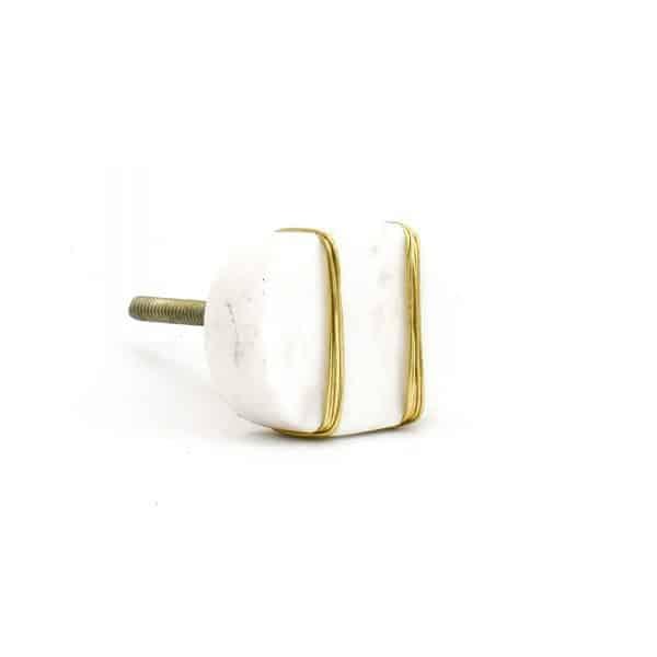 Metal Wrapped White Marble Knob