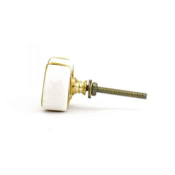 DSC 1095 Oval white  1 600x600 - Metal Wrapped White Marble Knob