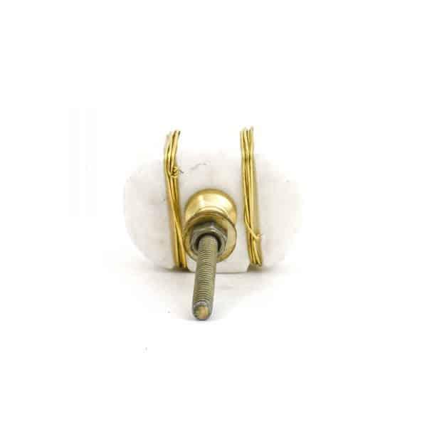 DSC 1096 Oval white  1 600x600 - Metal Wrapped White Marble Knob