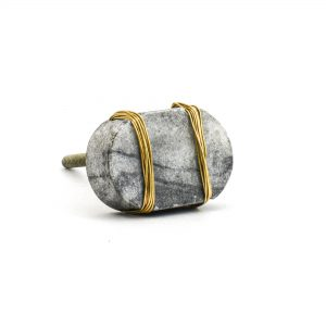 Metal Wrapped Grey Marble Knob