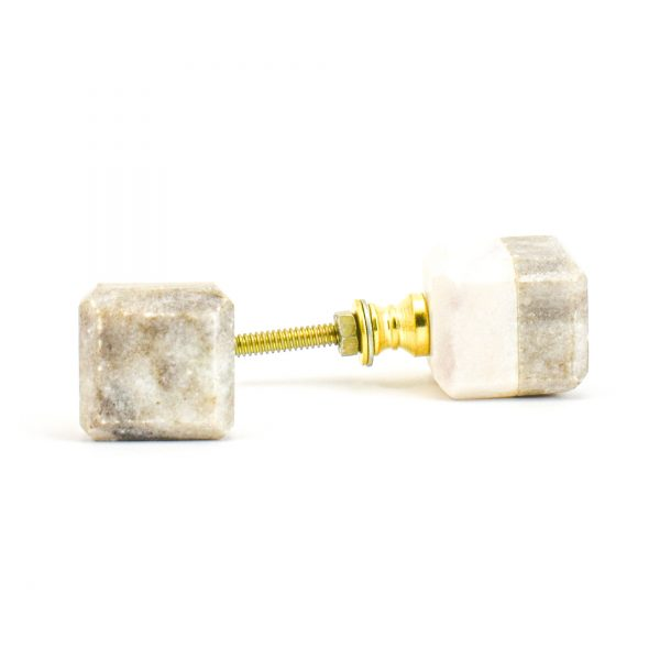 DSC 1123 Two toned w 1 600x600 - Light Brown Two-Tone Cubed Knob