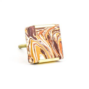 Square Desert Knob with Brass Trim