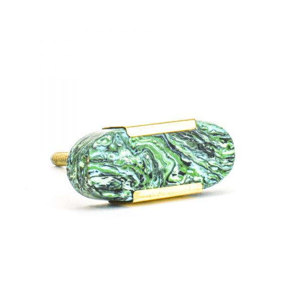 Oblong Forrest Knob with Brass Trim