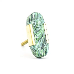 DSC 1218 Oblong gree 300x300 - Oblong Forrest Knob with Brass Trim