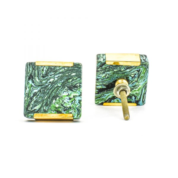 DSC 1223 Square gree 600x600 - Square Forrest Knob with Brass Trim