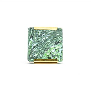 DSC 1224 Square gree 300x300 - Square Forrest Knob with Brass Trim