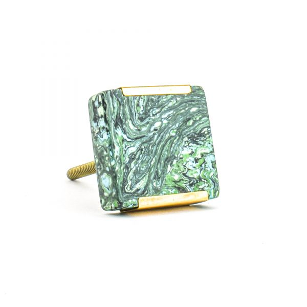 DSC 1225 Square gree 600x600 - Square Forrest Knob with Brass Trim