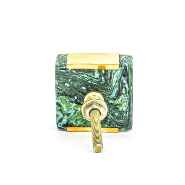 DSC 1227 Square gree 600x600 - Square Forrest Knob with Brass Trim