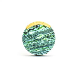 DSC 1231 Round green 300x300 - Round Forrest Knob with Brass Trim