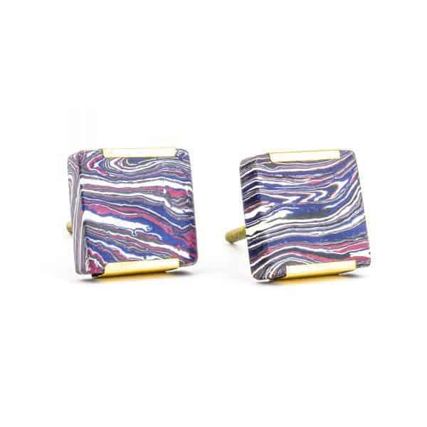DSC 1246 Square purp 600x600 - Square Purple Haze Knob with Brass Trim
