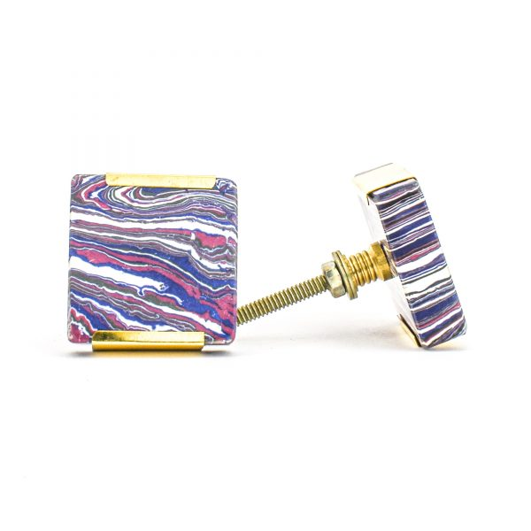 DSC 1247 Square purp 600x600 - Square Purple Haze Knob with Brass Trim