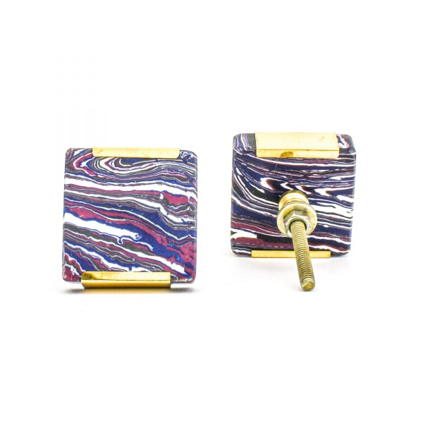 DSC 1248 Square purp 600x600 - Square Purple Haze Knob with Brass Trim