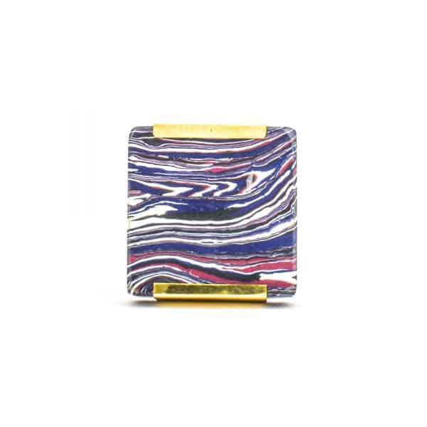 DSC 1249 Square purp 600x600 - Square Purple Haze Knob with Brass Trim