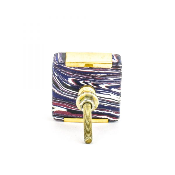 DSC 1252 Square purp 600x600 - Square Purple Haze Knob with Brass Trim