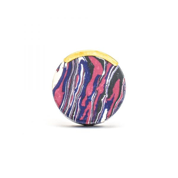 Round Purple Haze Knob with Brass Trim