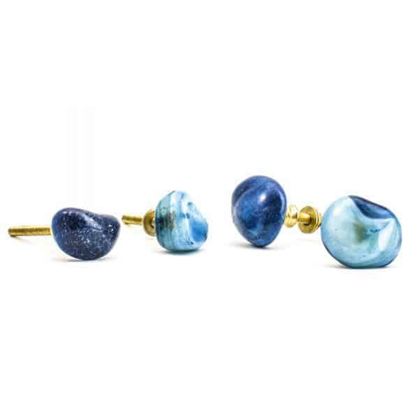 Blue and White Pebble Knob