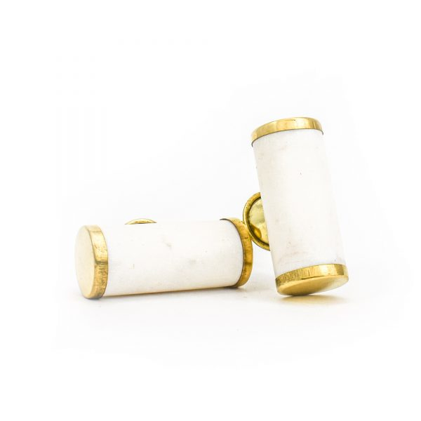 DSC 1279 Brass and w 600x600 - White Marble and Brass Cylinder Pull