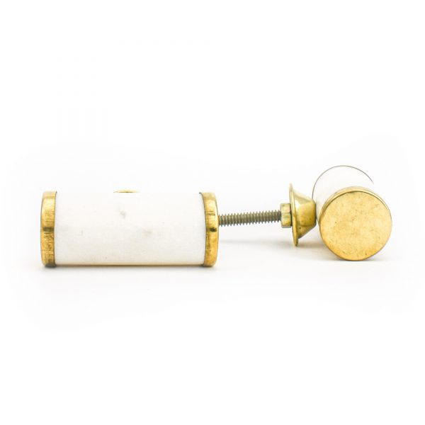 DSC 1281 Brass and w 600x600 - White Marble and Brass Cylinder Pull