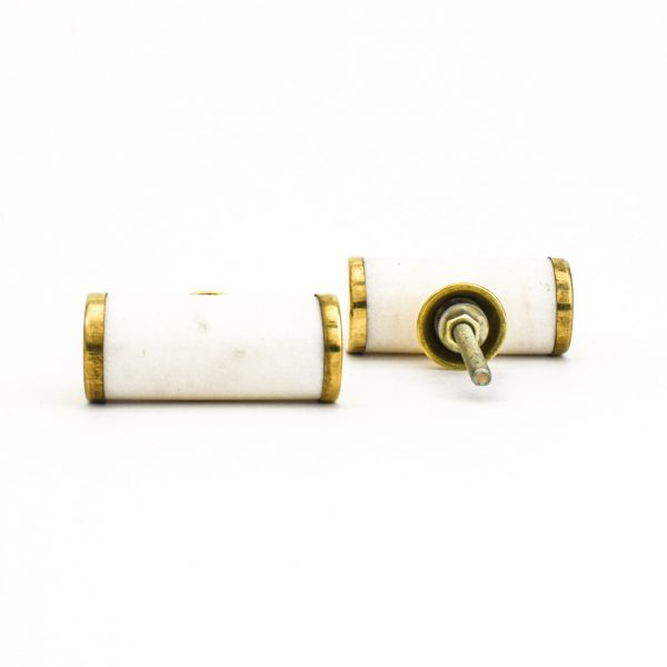 DSC 1282 Brass and w 600x600 - White Marble and Brass Cylinder Pull