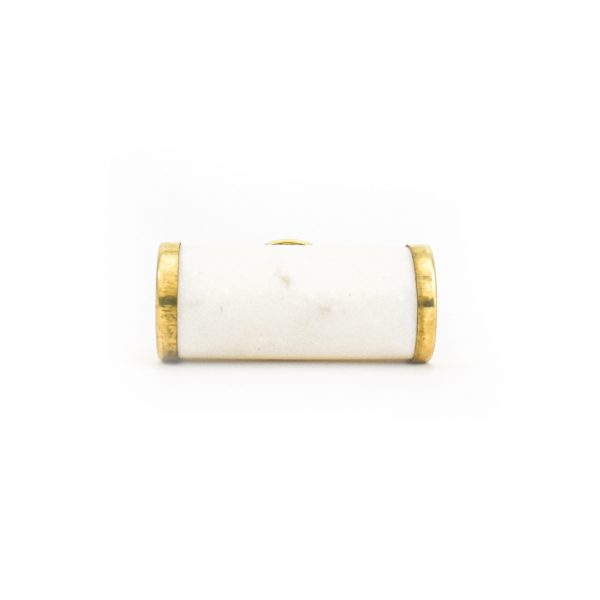DSC 1283 Brass and w 600x600 - White Marble and Brass Cylinder Pull