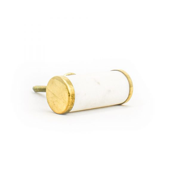 DSC 1284 Brass and w 600x600 - White Marble and Brass Cylinder Pull