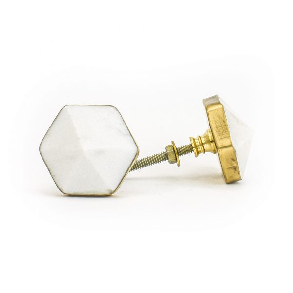 DSC 1289 Brass and w 600x600 - White Marble and Brass Prism Knob