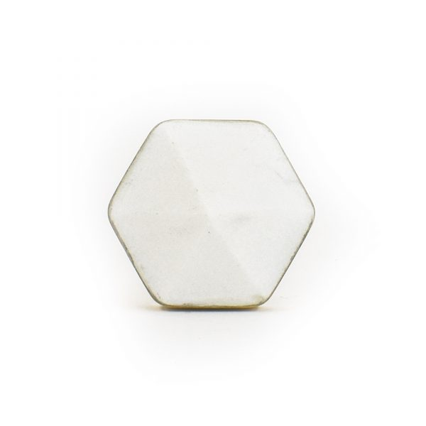White Marble and Brass Prism Knob