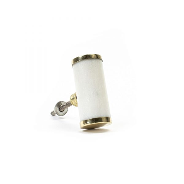White Marble and Brass Cylinder Pull
