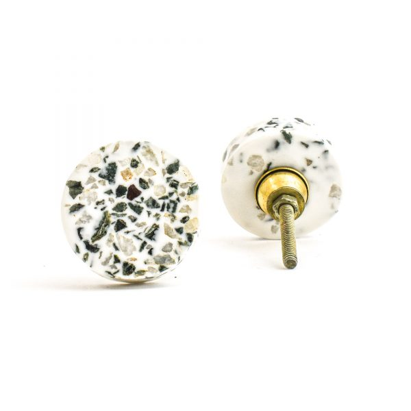 DSC 1450 Circle tera 600x600 - Round Green and Grey Terrazzo Knob